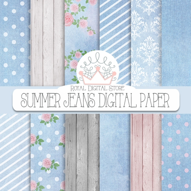 Denim, Wood Digital Paper: