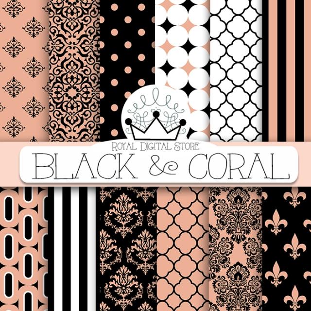 Black Pink Digital Paper :