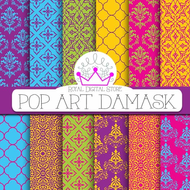 Bright Damask Digital Paper: