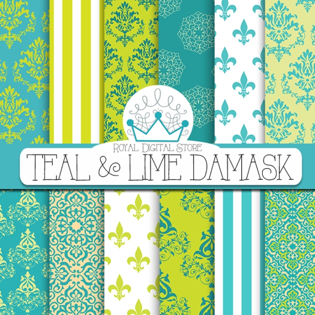 Teal and Lime Damask :