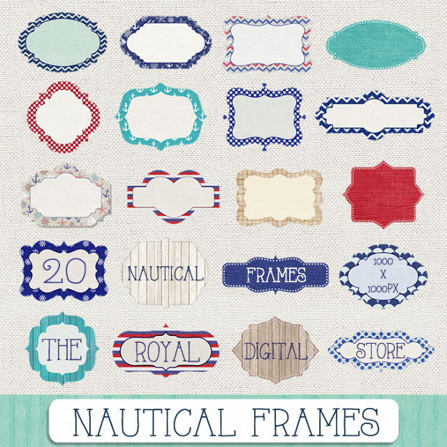 nautical navy frames clip art - Nautical Frames