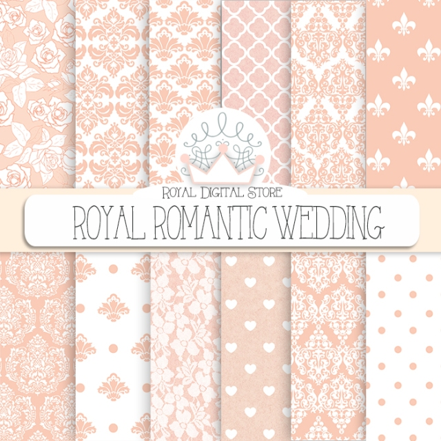 Wedding Digital Paper: 'Royal Romantic Wedding' with wedding damask, wedding lace, pink wedding backgrounds for scrapbooking, cards