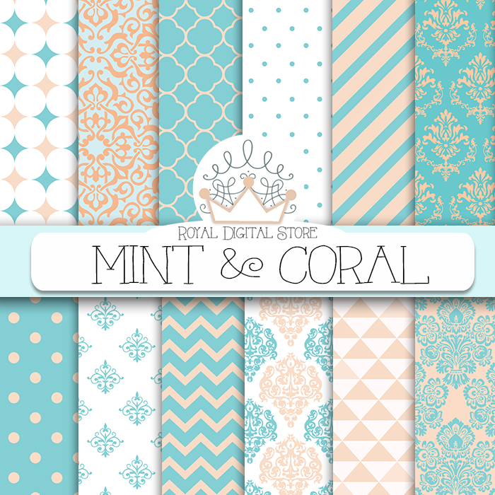 Mint And Coral Chevron Background Mint digital paper: �...
